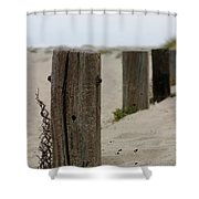 Old Fence Poles Shower Curtain