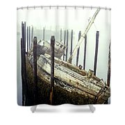 Old Fishing Boat No Longer In Use At Shower Curtain