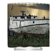 Old Fishing Boat On Shore With Storm Moving In Shower Curtain