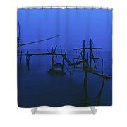 Old Fishing Platform Over Water At Dusk Shower Curtain