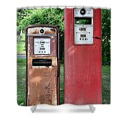 Old Gas Station Pumps Shower Curtain