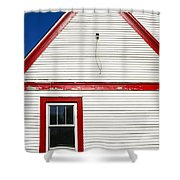 Old Gas Station Siding Shower Curtain
