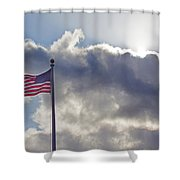 Old Glory In The Wind Shower Curtain
