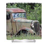 Abandoned Truck In Field Shower Curtain