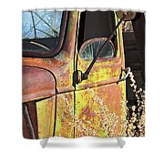 Old Green Truck Door Shower Curtain