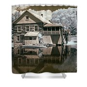 Old Grist Mill In Infrared Shower Curtain