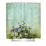 Old Grunge Paper Flowers Pattern Shower Curtain