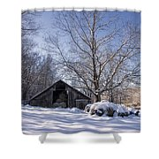 Old Hay Barn In Deep Snow Shower Curtain