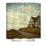 Old House On Rural Road Shower Curtain