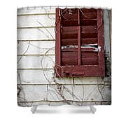 Old House Red Shutter 3 Shower Curtain