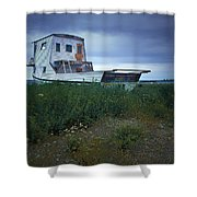 Old Houseboat On A Minnesota Shore On Lake Superior Shower Curtain