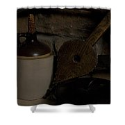 Old Items On A Stone Hearth 1 Shower Curtain