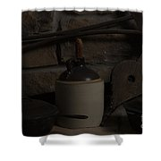 Old Items On A Stone Hearth 2 Shower Curtain