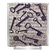 Old Keys On Sheet Music Shower Curtain