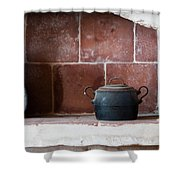 old kitchen - A part of a traditional kitchen with a vintage metal pot  Shower Curtain
