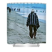 Old Man And The Beach Shower Curtain