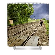 Old Man Walks Along Train Tracks Shower Curtain