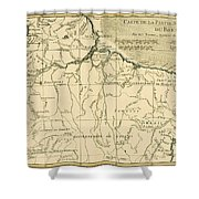 Old Map Of Northern Brazil Shower Curtain by Guillaume Raynal
