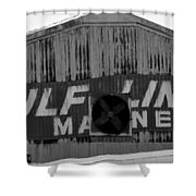 Old Marine Sign Shower Curtain