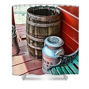 Old Milk Cans And Rain Barrel. Shower Curtain