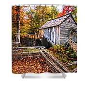 old mill Smoky Mountains Shower Curtain
