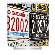 Old Nebraska Plates Shower Curtain