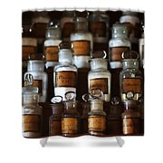 old pharmacy 2 - Old glass bottle with medicine powder of xviii century Shower Curtain