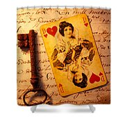 Old Playing Card And Key Shower Curtain