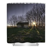 Old Prairie Homestead At Sunset Shower Curtain