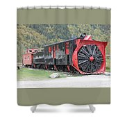 Old Rail Snow Pusher Shower Curtain