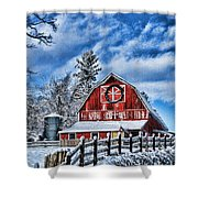 Old Red Barn Hdr Shower Curtain