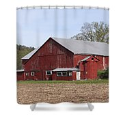 Old Red Barn With Short Silo Shower Curtain