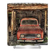 Old Red Car In A Wood Garage Shower Curtain