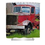 Old Rusted Semi-truck  Shower Curtain