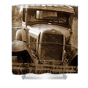 Old Rustic Ford-sepia Shower Curtain