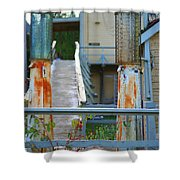 Old Rustic Gas Pumps Shower Curtain