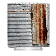 Old Rusty Sheet Metal Shower Curtain