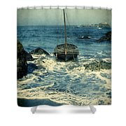 Old Sailing Vessel Near The Rocky Shore Shower Curtain