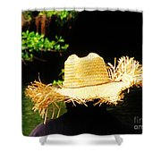 Old Straw Hat Shower Curtain