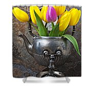 Old Tea Pot And Tulips Shower Curtain