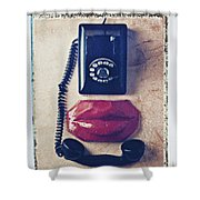 Old Telephone And Red Lips Shower Curtain