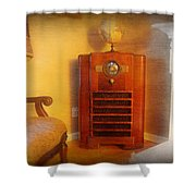 Old Time Radio Shower Curtain by Paul Ward