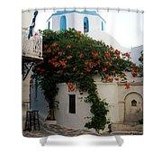 Old Town Church Paros Shower Curtain