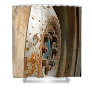 Old Tractor Wheel Shower Curtain