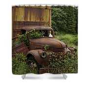 Old Truck In Rain Forest  Shower Curtain