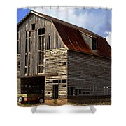 Old Wagon Older Barn Different View Shower Curtain