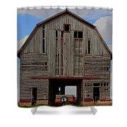 Old Wagon Older Barn Panoramic Stitch Shower Curtain