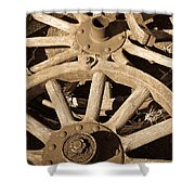 Old Wagon Wheels Shower Curtain
