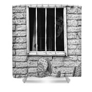 Old Western Jailhouse Window In Black And White Shower Curtain