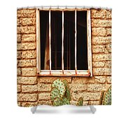 Old Western Jailhouse Window Shower Curtain